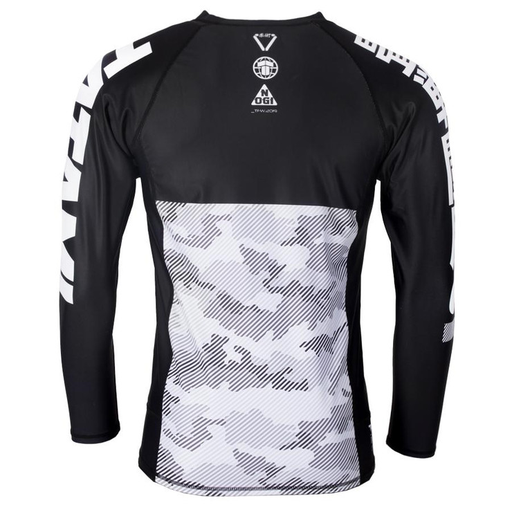 Tatami Fightwear Essential Camo Long Sleeve Rash Guard Black/White