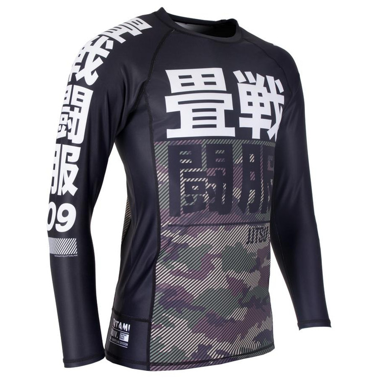 Tatami Fightwear Essential Camo Long Sleeve Rash Guard Black/Green