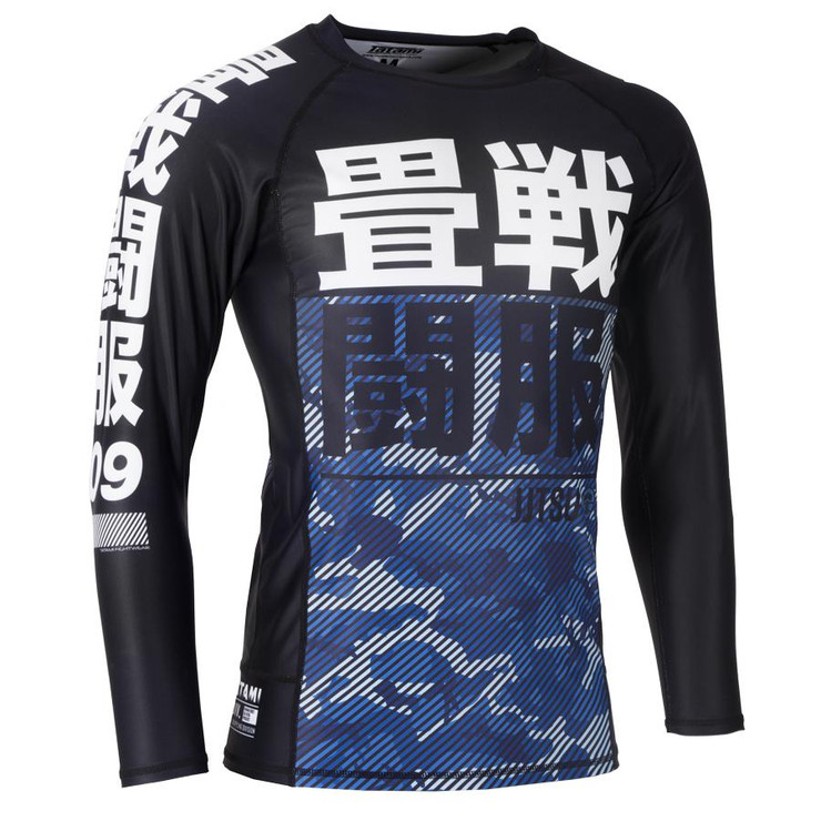 Tatami Fightwear Kids Essential Camo Long Sleeve Rash Guard Black/Blue