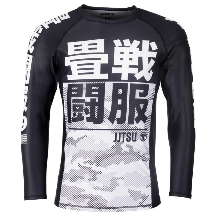 Tatami Fightwear Kids Essential Camo Long Sleeve Rash Guard Black/White