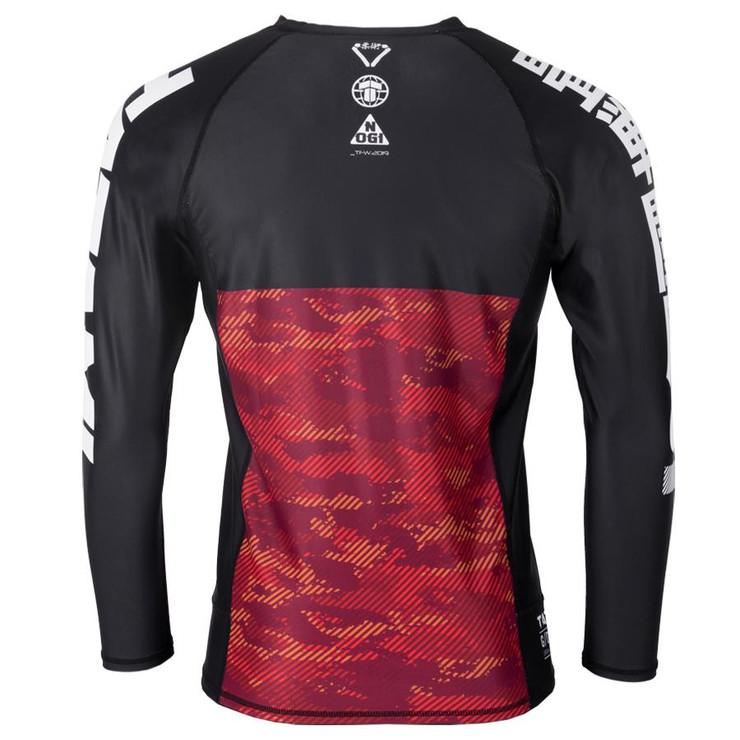 Tatami Fightwear Kids Essential Camo Long Sleeve Rash Guard Black/Red