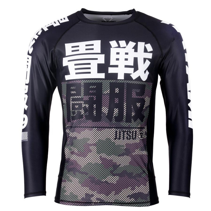 Tatami Fightwear Kids Essential Camo Long Sleeve Rash Guard Black/Green