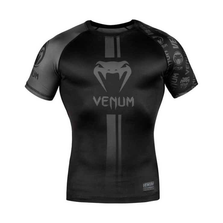 Venum Logos Short Sleeve Rash Guard Black