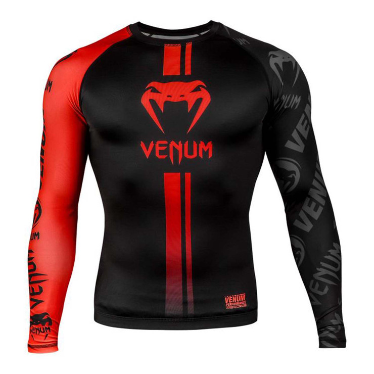Venum Logos Long Sleeve Rash Guard Black/Red