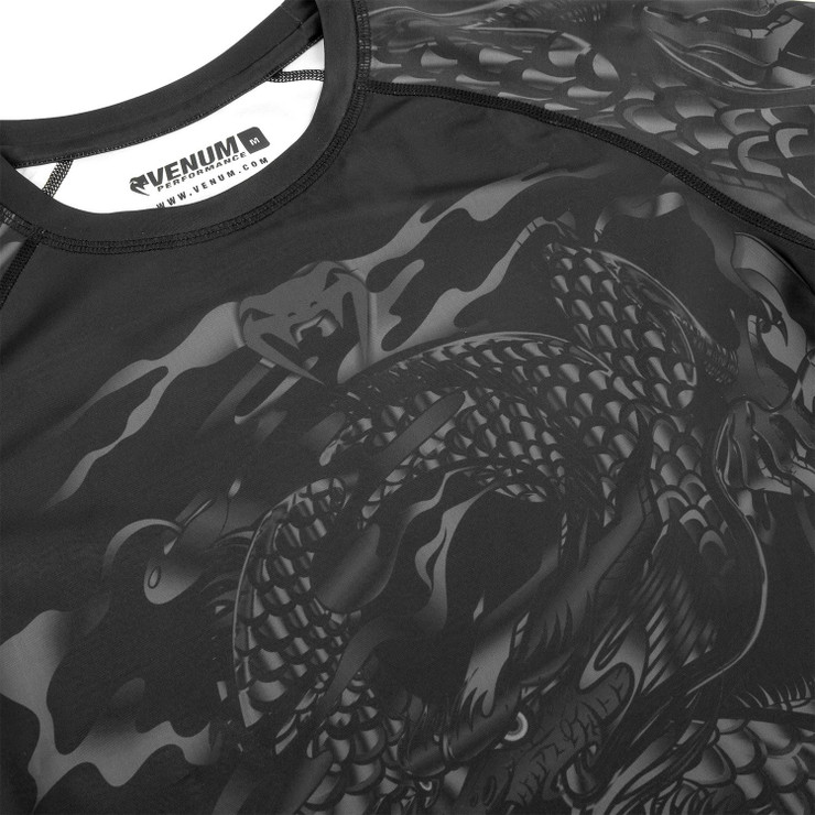 Venum Dragon's Flight Short Sleeve Rash Guard Black