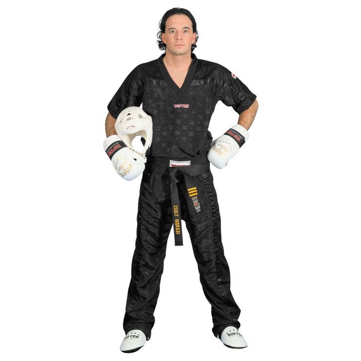 Top Ten Adult Mesh Kickboxing Pants Black/Black
