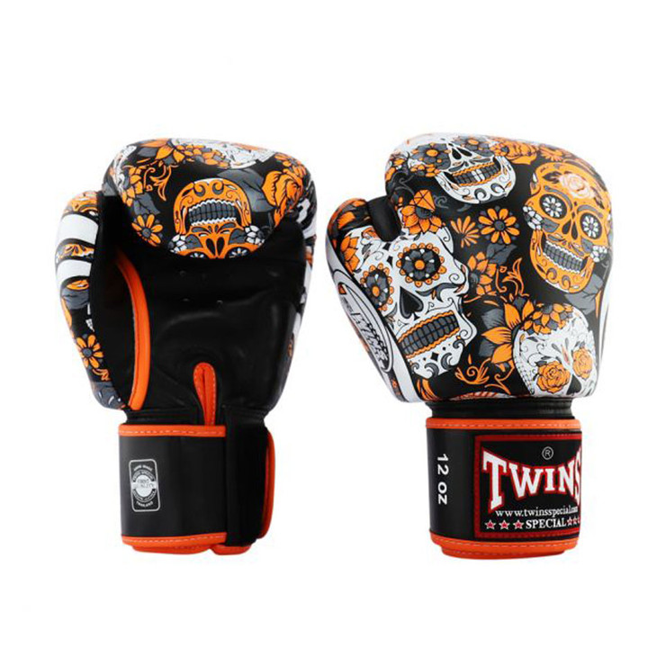 Twins FBGVL3-53 Skull Boxing Gloves Orange