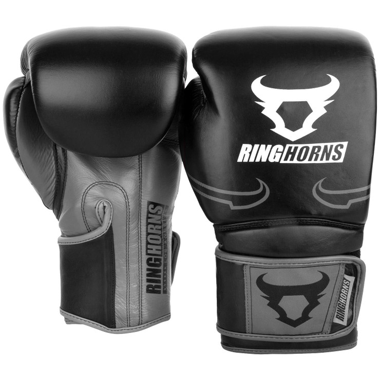 Ringhorns Destroyer Leather Boxing Gloves Black/Grey