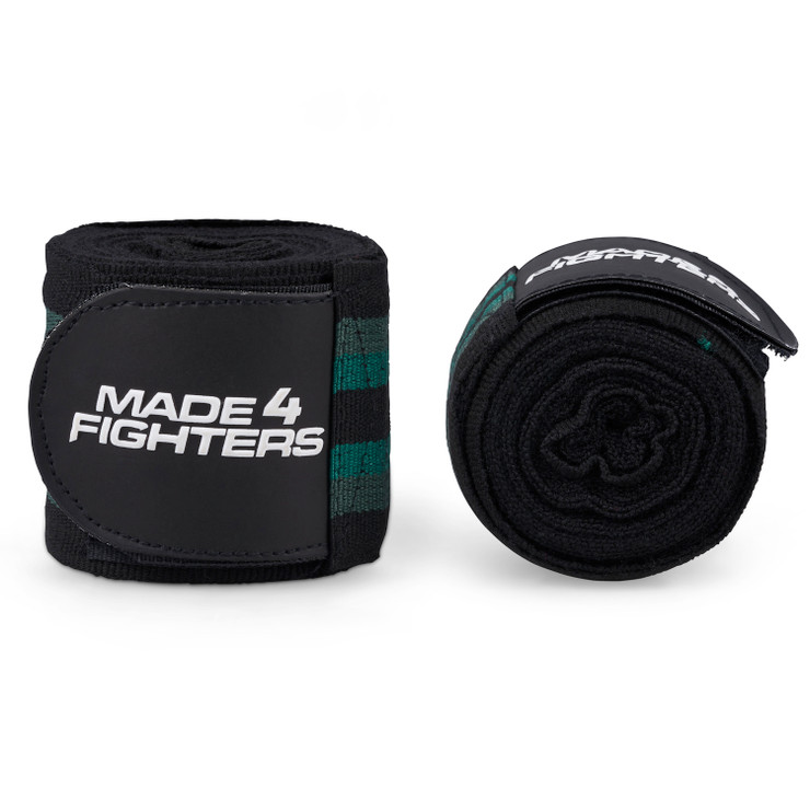 Made4Fighters S1 Striped Hand Wraps Black/Green