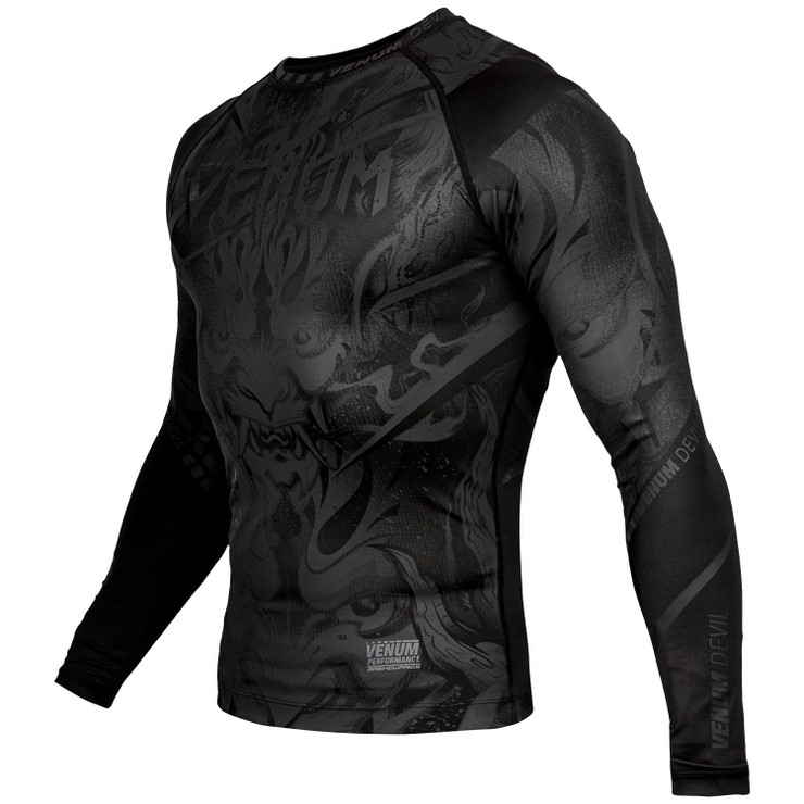 Venum Devil Long Sleeve Rash Guard Black/Black
