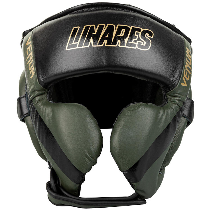 Venum Linares Edition Pro Boxing Head Gear Khaki/Black/Gold