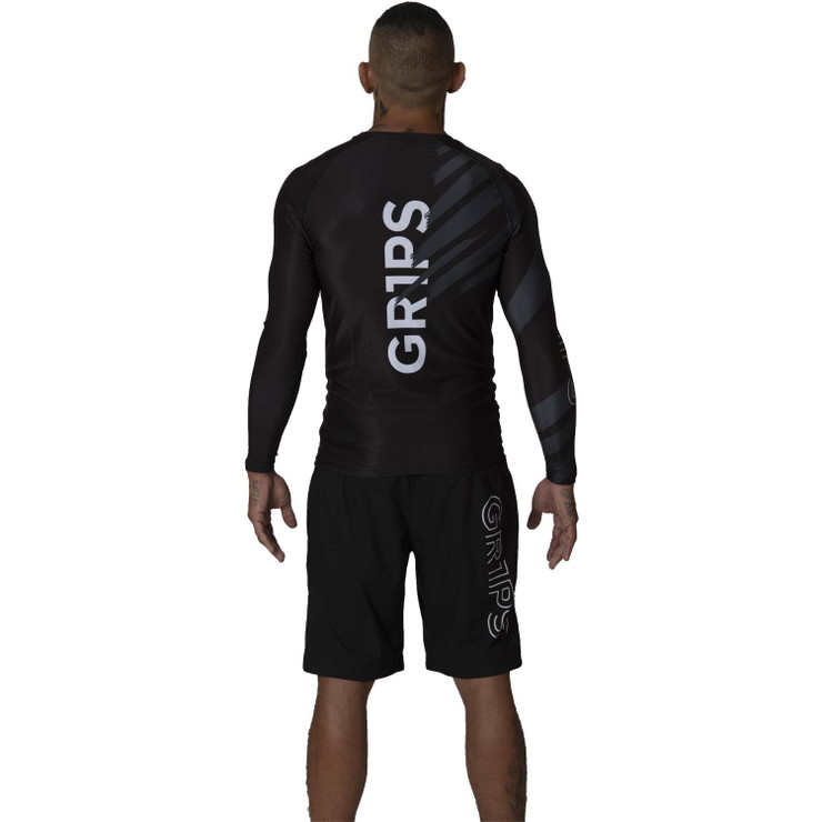 Gr1ps Essential Jiu-Jitsu Ranked Rash Guard Black
