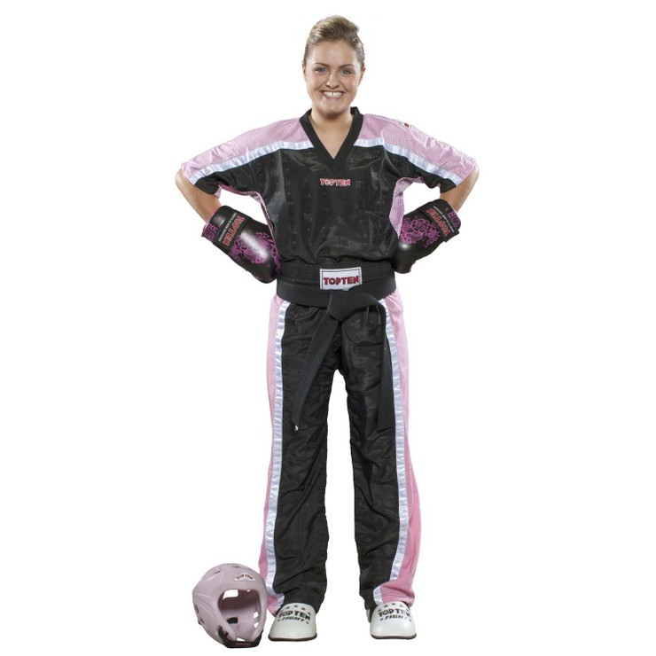 Top Ten Kids Mesh Kickboxing Pants Black/Pink