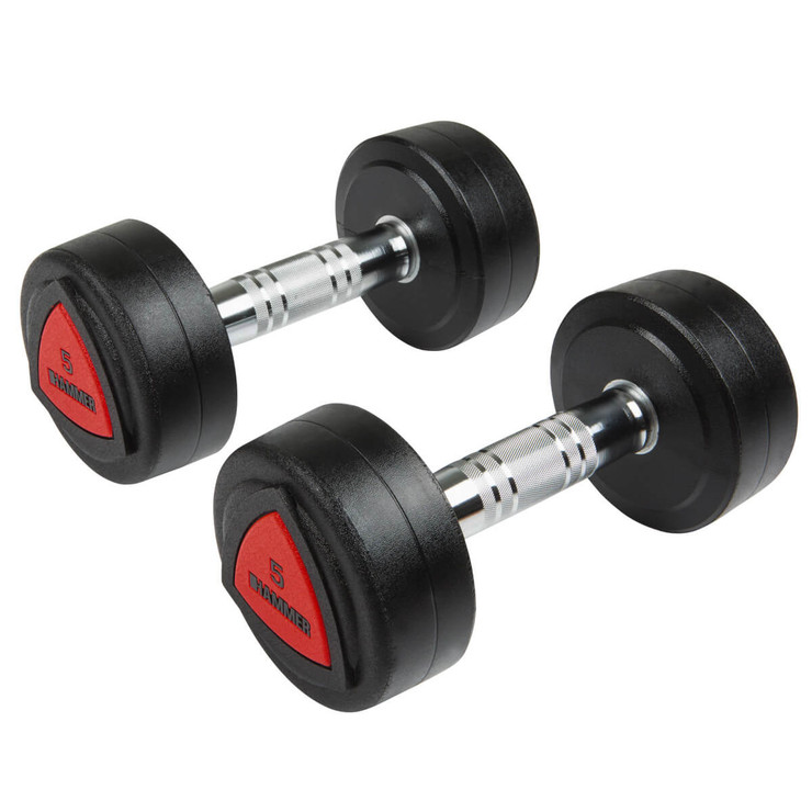 Hammer Fitness PU 5kg Dumbbells - Pair