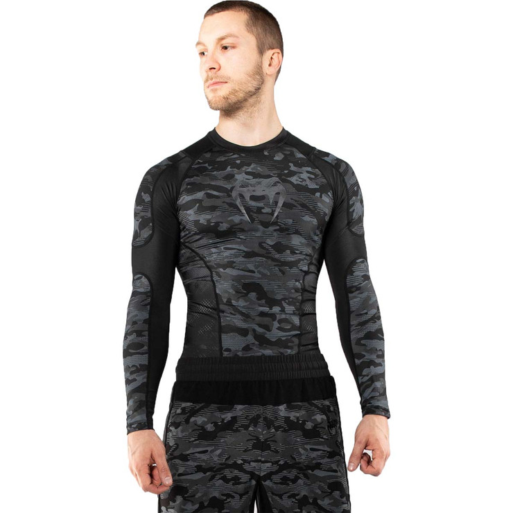 Venum Defender Dark Camo Long Sleeve Rash Guard Black/Grey