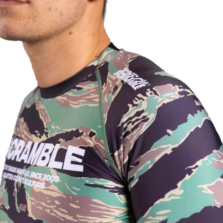 Scramble BASE Tiger Camo Long Sleeve Rash Guard