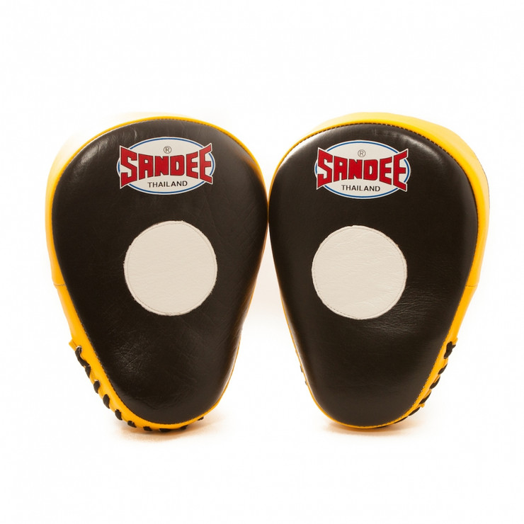Sandee Leather Authentic Curved Focus Mitts Black/Yellow