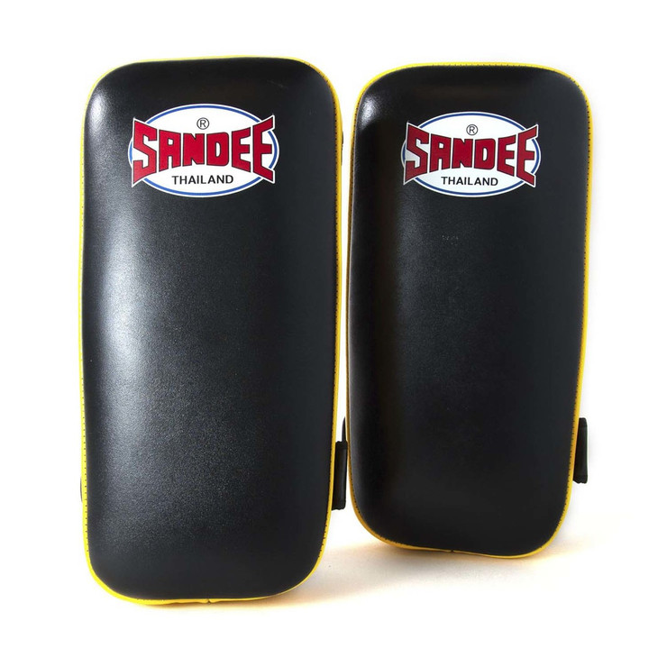 Sandee Leather Authentic Large Flat Thai Pads Black/Yellow