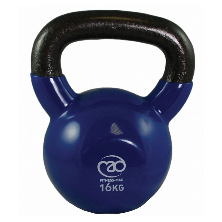 Fitness Mad Vinyl Covered 16kg Kettlebell Blue 16kg