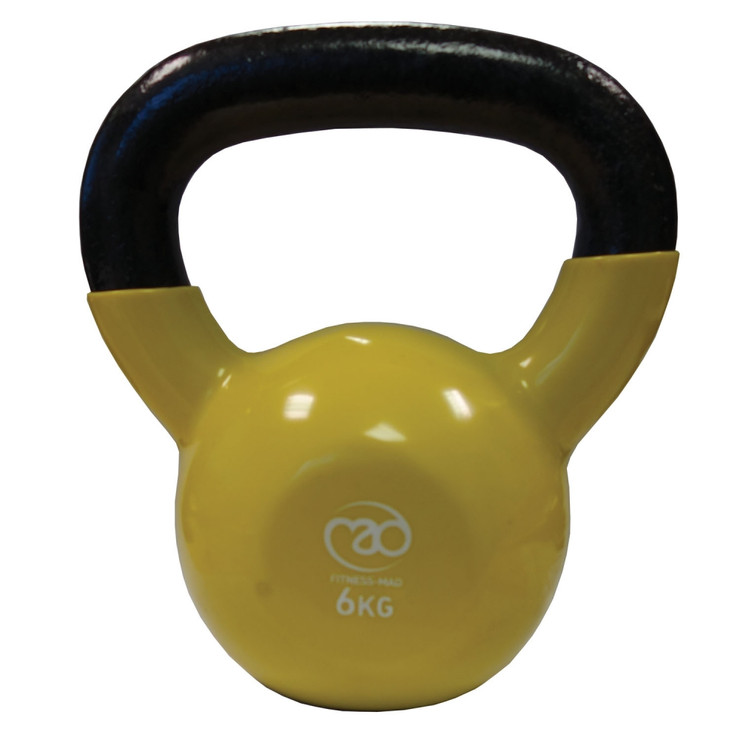 Fitness Mad Vinyl Covered 6kg Kettlebell Yellow 6kg