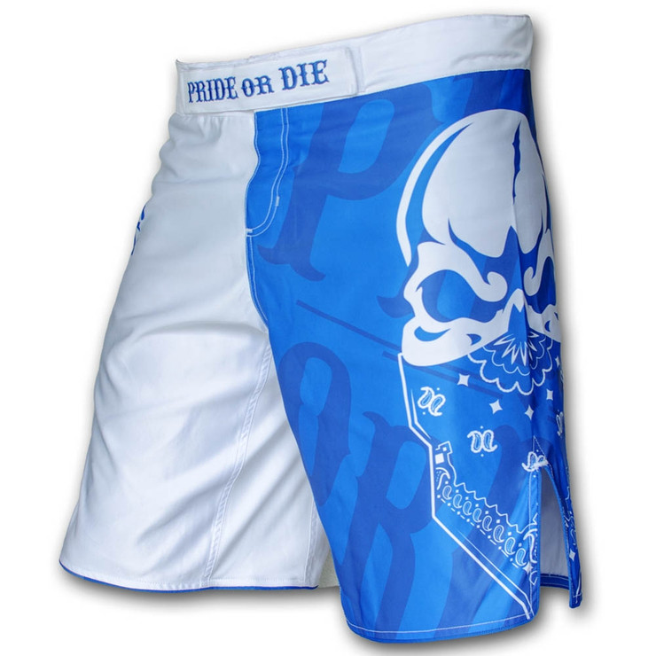 Pride or Die Reckless Mens MMA Fight Shorts White
