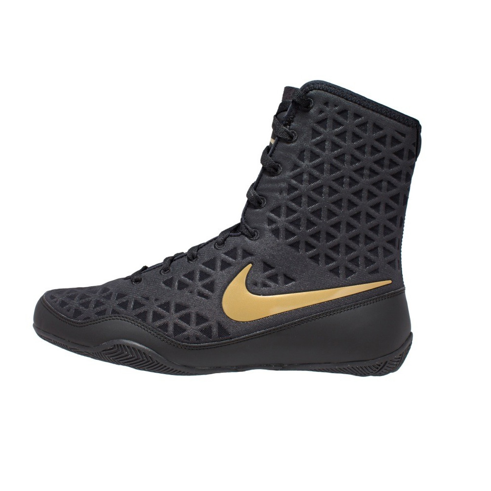 sports shoes 00ea3 99714 Nike KO Black Boxing Boots with Gold