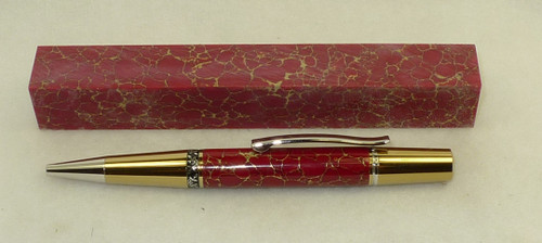 Tru Stone Pen Blank Red with Gold Web 3/4