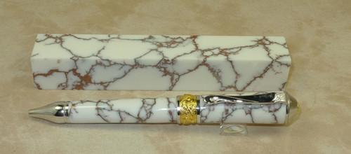 Tru Stone Pen Blank White with Copper Matrix 7/8