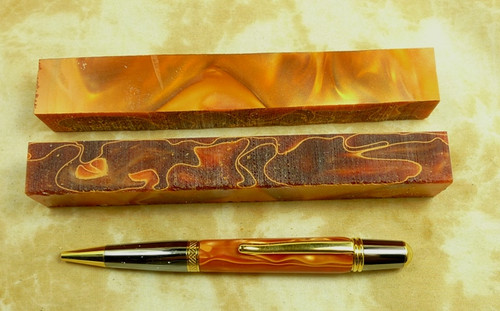 Lucite Pen Blank Fire Ripple