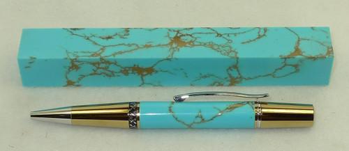 Tru Stone Pen Blank Turquoise Gold Matrix 3/4