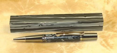 Tru Stone Pen Blank Banded Black & White 3/4