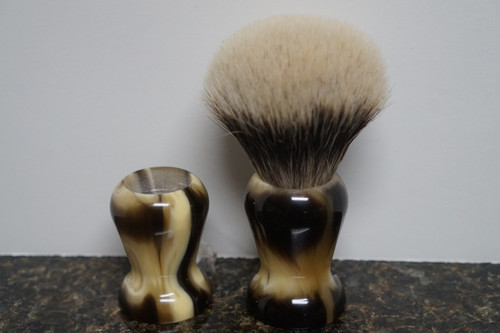 Shave Brush Handle Faux Stripped Horn Style 1