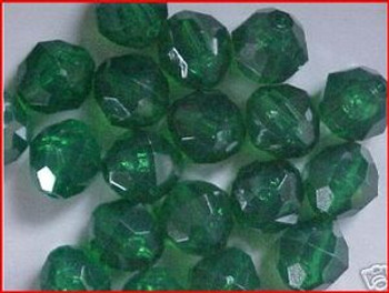 Beads Faceted 12mm TRANS. DK.GREEN 20/PK