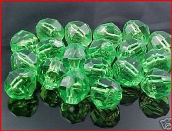 Beads Faceted 12mm TRANS.LIME 20/PK