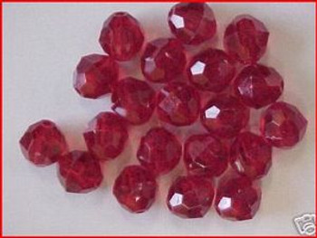 Beads Faceted 12mm RUBY RED 20/PK