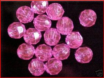 Beads Faceted 10mm TRANS.PINK 36/PK