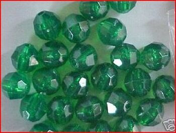 Beads Faceted 10mm TRANS.DK GREEN 36/PK