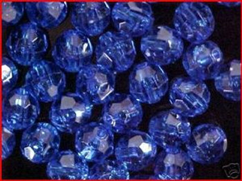 Fishing Beads Faceted 10mm TRANS. DK BLUE 36/PK