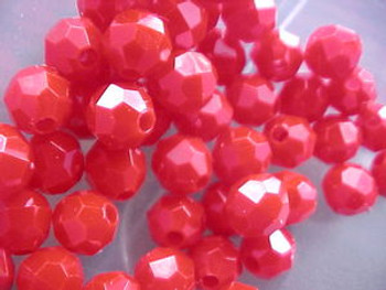 Fishing Beads Faceted 8mm BLOOD RED 50/PK