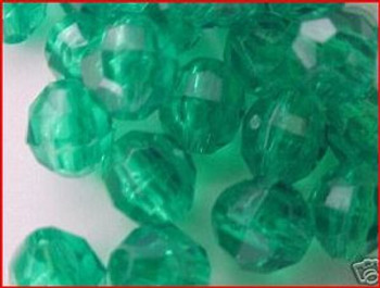 Fishing Beads Faceted 8mm TRANS.DK GREEN 50/PK