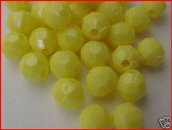Fishing Beads Faceted 8mm YELLOW 50/PK