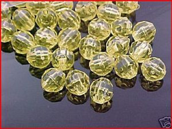 Fishing Beads Faceted 8mm TRANS.YELLOW 50/PK