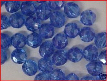 Fishing Beads Faceted 8mm TRANS. DK BLUE 50/PK