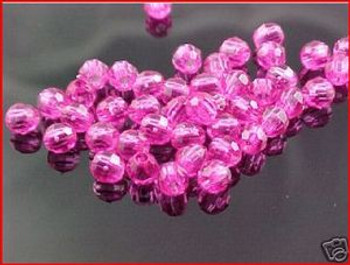 Beads Faceted 4mm TRANS.PINK 100/PK