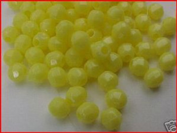 Beads Faceted 4mm YELLOW 100/PK
