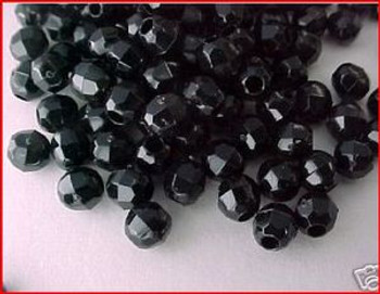 Beads Faceted 4mm BLACK 100/PK