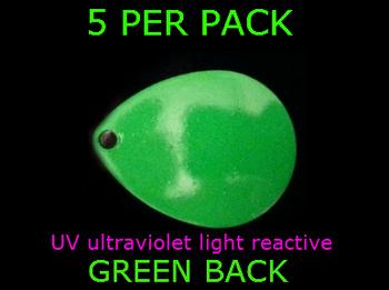 WALLEYE TACKLE COLORADO spinner blades # 2 UV GREEN
