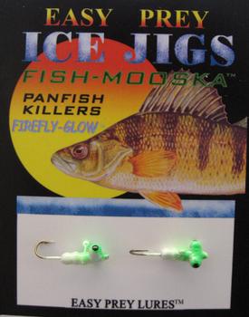 ICE FISHING JIGS #10 HORIZONTAL LARVA GLOW/GREEN / EASY PREY LURES