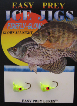 ICE FISHING JIGS #10 SS MINNOW/CHART GLOW / EASY PREY LURES