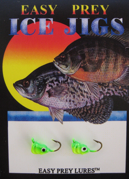ICE FISHING JIGS #10 SS MINNOW CHART-GREEN / EASY PREY LURES